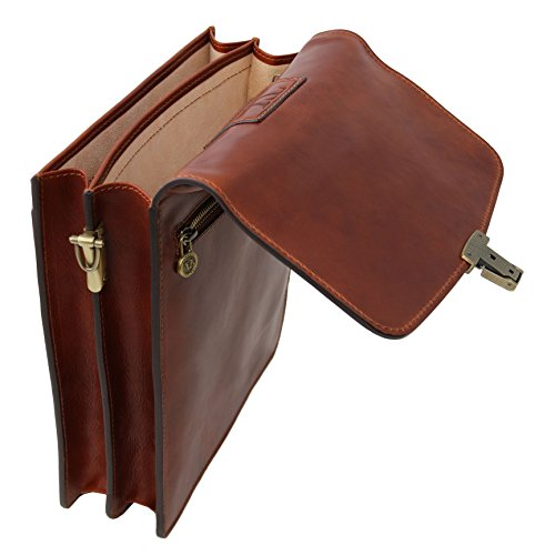 Tuscany Leather David Leather Crossbody Bag - large size Brown by Tuscany Leather (Image #7)