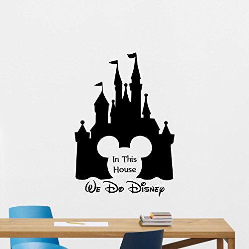 in This House We Do Disney Wall Decal Disney Quote Mickey Mouse Ears Castle Sign Gift Vinyl Sticker Print Wall Art Design Baby Room Kids Decor Nursery Poster Custom Mural - Castle Mickey