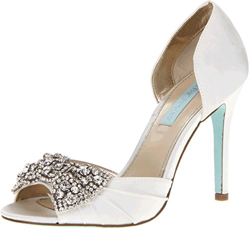 Blue by Betsey Johnson Women's Gown Pump,Ivory Satin,6.5 M US