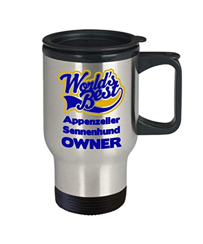 """Funny Travel Mug For Appenzeller Sennenhund Owners:""""Worlds Best Appenzeller Sennenhund Owner"""" Tea Thermos Cup, Personal/Special Dog Lovers Tumbler Gift 2"""