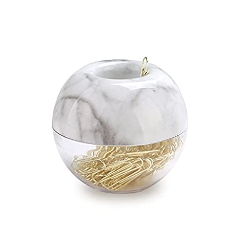 MultiBey Paper Clips in Elegant Magnetic Marble White Clip Holder, 28mm, Gold, 100 Clips Per Box (White And Gold Supplies)