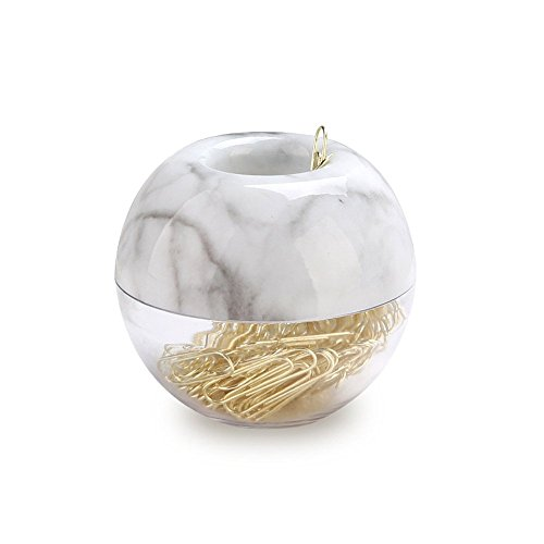 Paper Clip Holder (MultiBey NE-Clip-Marble-Round  Paper Clips in Elegant Magnetic Marble White Clip Holder, 28mm, Gold, 100 Clips Per Box)