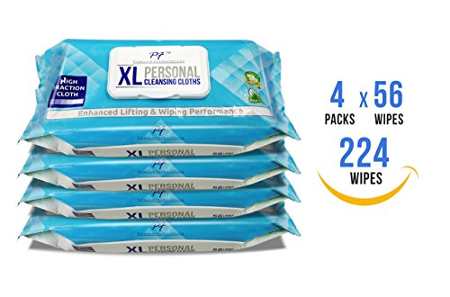 Premium Formulations HIGH TRACTION XL UBER THICK Adult WIpes Wash Cloths, LARGE, & STRONG (4 packs x 56 wipes = 224 wipes )