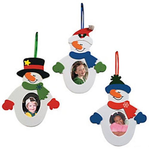 Snowman Photo Frame Ornament Craft Kit (12 piece)/Self-adhesive - Frame Holiday Photo Ornament