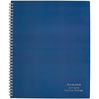 """AT-A-GLANCE Weekly / Monthly Teacher Planner, July 2017 - June 2018, 8-1/2"""" x 11"""", Plan Book, Navy (TP905A20)"""