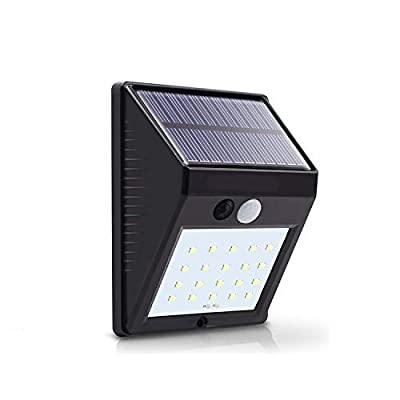 20LEDs Solar Sensor Light, 6500k, Outdoor Mini Wall Lights for Garden Patio Yard with Motion Activated Auto On/Off (1-Pack)