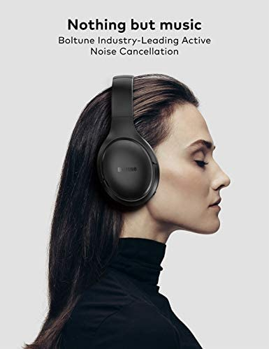 Active Noise Cancelling Headphones, Boltune Bluetooth 5.0 Over Ear Wireless Headphones with Mic Deep Bass, Comfortable Protein Earpads 30H Playtime for Travel Work TV PC Cellphone 412Q5RhQMWL