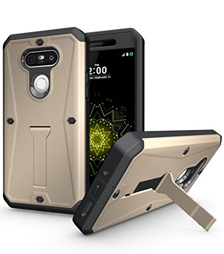 LG G5 Case,DIOS CASE(TM) Heavy Duty Full-body Protection [Tank Armor Series] 3 in 1 Ultra Combat with Built-in Screen Protector Kickstand Bumper Military Defender Hard Case Cover for LG G5 (Gold) ()
