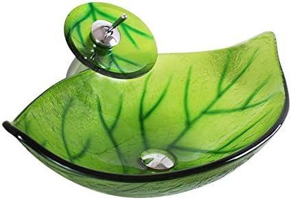 洗面ボール 強化ガラス容器シンク洗面浴室の上カウンター盆地 - オーバルLeafeシェイプ - 無料マッチングソープトレー 洗面ボール・洗面器 (色 : Green-Set, Size : 585*375*185mm)