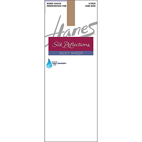 Hanes Silk Reflections Silky Sheer Knee Highs with Reinforced Toe 2PK_BrlyThr_OS