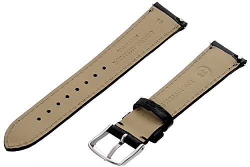 MICHELE MS18AA010001 18mm Leather Alligator Black Watch Strap by MICHELE (Image #1)