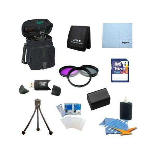 NP-FV70 Battery 10 pc Kit Deluxe Filter Set 16gb SD Card & USB Reader Table-top Tripod Deluxe Gadget Bag Micro Fiber Cloth Lens Cleaning Kit Sony Handycam DCR-SX33 SX45 SX65 SX85 SR88 SR20 DCR-DVD105 by Special
