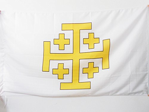 Jerusalem Flag - LATIN KINGDOM OF JERUSALEM FLAG 3' x 5' for a pole - CATHOLIC FLAGS 90 x 150 cm - BANNER 3x5 ft with hole - AZ FLAG