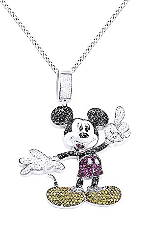 Round Cut Multicolor Cubic Zirconia Mickey Mouse Hip Hop Pendant in 14K White Gold Over Sterling Silver (5.22 Cttw) by AFFY
