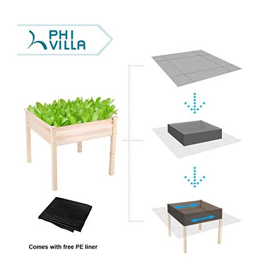 "PHI VILLA Raised Garden Bed Elevated Planter Box for Vegetable/Flower/Fruit/Herb 4 ★100% Natural Material★ This garden bed is made of untreated Cedar wood, no addictive added, environmentally friendly, no harm to human body ★Sturdy and Durable Garden Bed★ Elevated design protects your plants away from rabbits, gophers and pets. 0.6"" thick solid wood, strong enough to support your plants. Weight capacity: 220 lbs ★Easy Working Height★ Stands at 31.9"", no longer need to bend over when gardening, minimize back and knee strain"