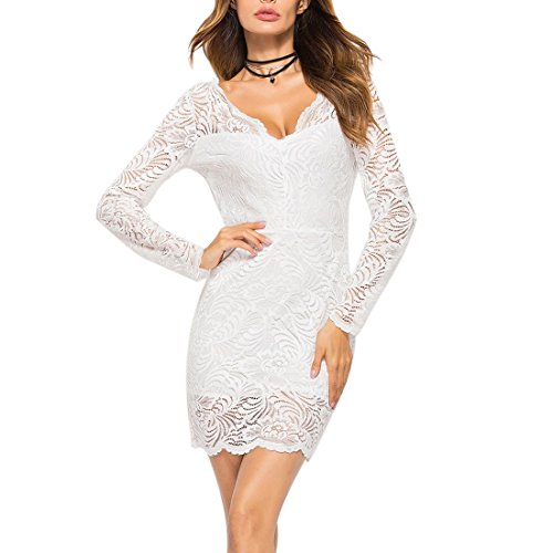 New Dress Neck Ai Lace Backless Long Women Party Bodycon Deep Sleeve Moichien V Mini White Slim qq6wCxES