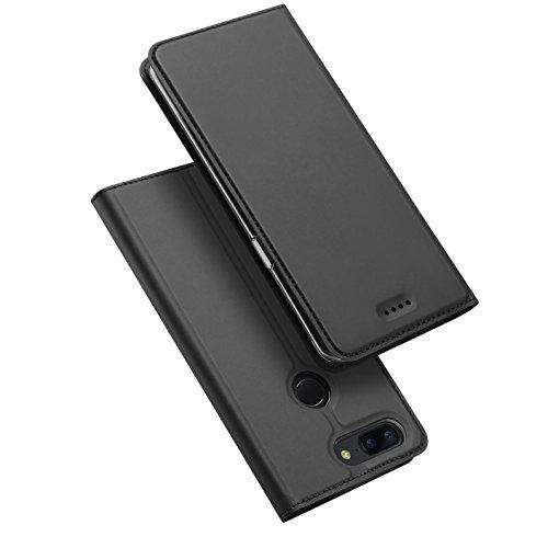 OnePlus 5T Funda Gris, ivencase Case TPU Cuero Flip Tapa Cover Bookstyle Estilo en Folio con Soporte Plegable Tarjetas para OnePlus 5T