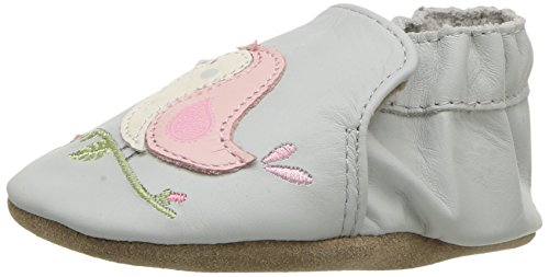 (Robeez Girls' Soft Soles Crib Shoe, Bird Buddies-Grey Violet, 0-6 Months M US Infant)