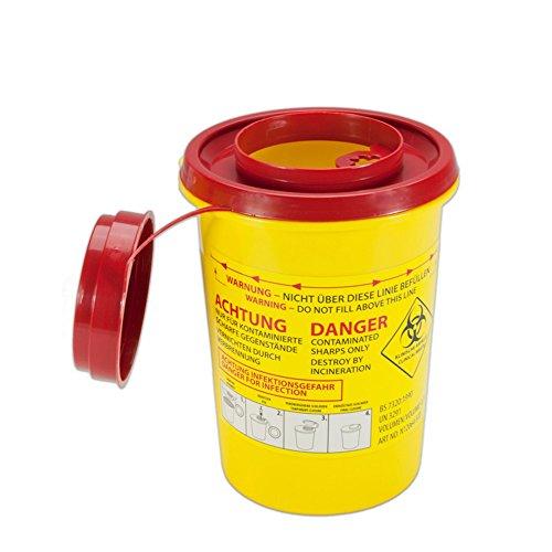 SANISMART Abwurfbehälter für Kanülen mit Sicherheitshinweisen, Fassungsvermögen:0.7 Liter