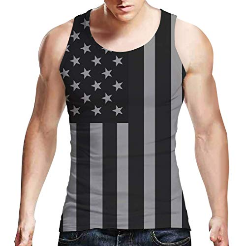 Belovecol Men Unisex USA Flag Stripe Tank Top July 4th Patriotic Apparel Casual Short Sleeveless Tees Shirts Black S (Trunk Tee Shirts)