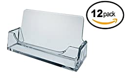 T\'z Tagz Brand 12 pack - Clear Plastic Business Card Holder Display