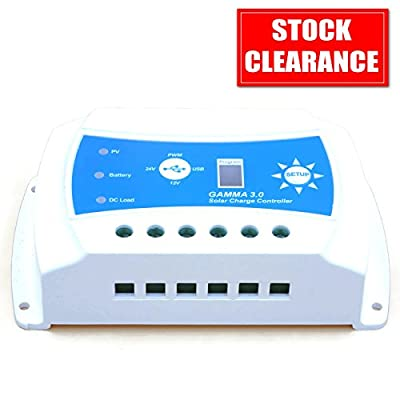 USB Solar Charge Controller GAMMA 3.0 - 10A for Solar Panel & Battery, 12V 24V PWM Charger with Intelligent Lighting Timer