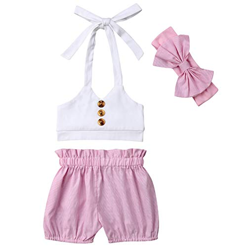 3Pcs Toddler Baby Girl Summer Outfit White Halter Button Crop Top+Elastic Shorts Pants Clothes Set (6-12 Months) ()
