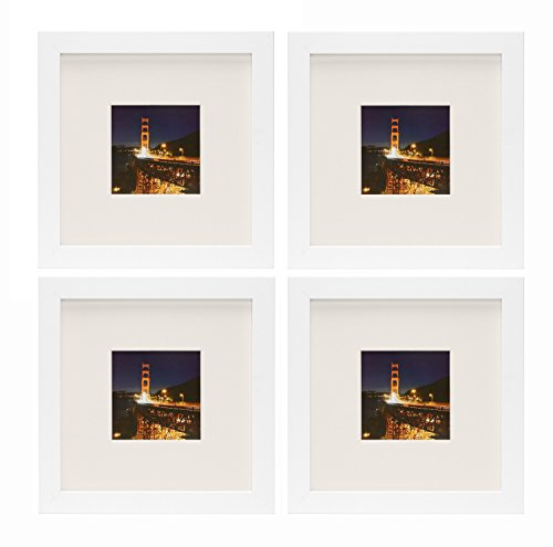 Frametory, Set of 4, 8x8 White Picture Frame with Ivory Color Mat for 4x4 Photo - Wide Molding - Easel Stand - Square Shape - Glass Front (White)