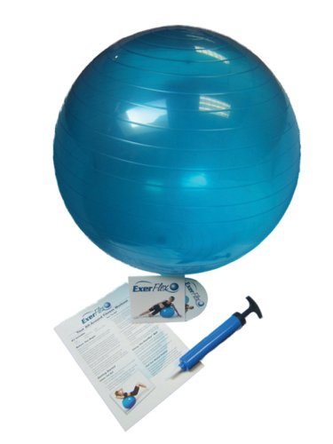 Dynaflex Exerflex Deluxe Adjustable Exercise Ball with DVD