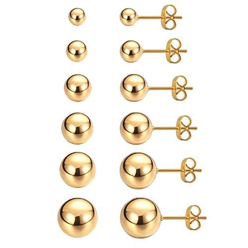 Gold Stud Earrings,316L Stainless Steel Round Ball Earrings Set for Sensitive Ears, Hypoallergenic Earrings for Women Mens (Gold, 3~8mm, Pack of 6)