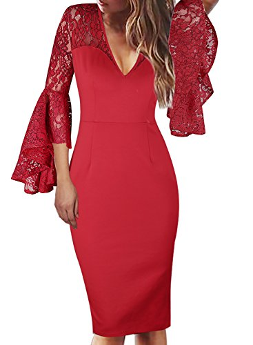 VfEmage Womens Sexy V-Neck Bell Sleeves Work Party Cocktail Sheath Dress 8908 Red 16