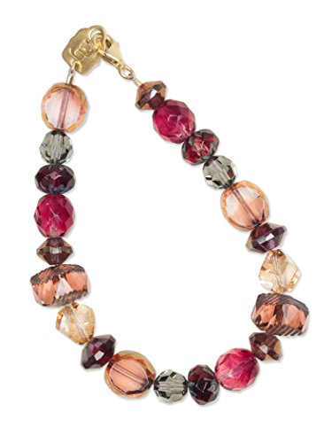 Holly Yashi Carla Bracelet, Burgundy Beaded Bracelet for Women with Genuine Crystal and Glass Beads, 14k Gold Overlay Clasp, Swarovski Crystal Bead Bracelet for All Occasions