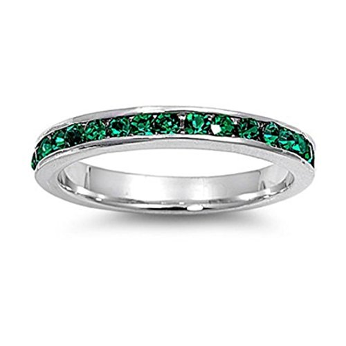 3MM Stackable Full Eternity Wedding Band Ring Channel Round Simulated Emerald 925 Sterling Silver