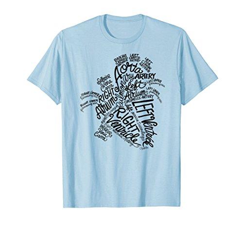 Anatomical Heart Word Art Medical Tshirt for Men Ladies Kids