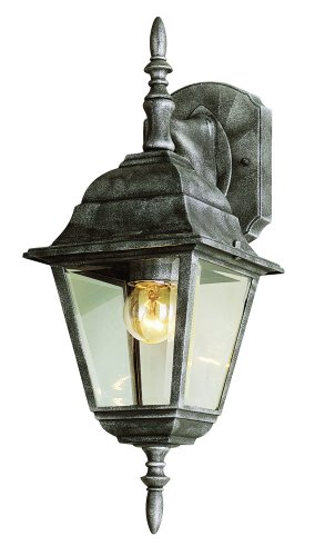 Trans Globe Lighting 4411 BK Outdoor Wall Light with Beveled Glass Shade, Black Finished