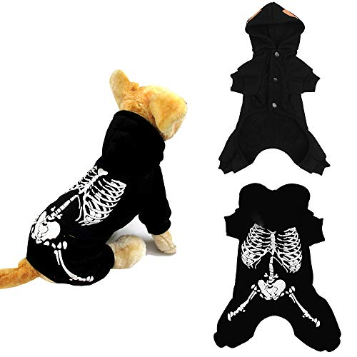 SAIrch Halloween Pet Skeleton Clothes Dog Costume Shiny
