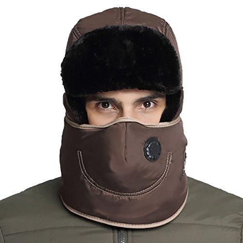 Hombres Winter Warm Bomber Hat Máscara A Prueba De Viento Winter Ear Flap Outdoor Sports Snow Máscara A Prueba De Viento Classic Brown