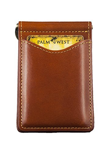 Palm West Leather Minimalist Leather Money Clip Wallet with RFID Blocking Technology, Saddle Tan