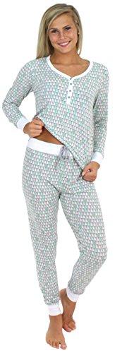 Womens Knit Cuff Pant - Sleepyheads Women's Sleepwear Knit Long Sleeve Henley and Pant Pajamas PJ Set-Christmas Trees (SH1150-4092-XL)