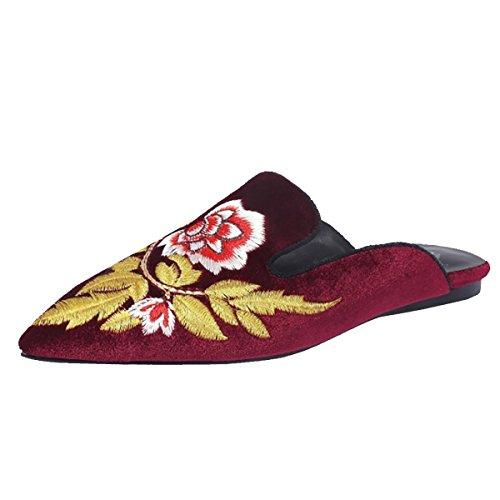 Rot Slip Chic Mule Backless Flat Loafers Velvet On Jushee Embroidery Slipperss Blumen Women's Shoes x7nHw66