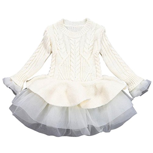 Sunbona Toddler Baby Girls Princess Cute Autumn Winter Knitted Sweater Outerwear Pullovers Crochet Tutu Dress Blouse Coat Clothes (3T(1~2years), Beige) ()