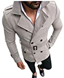 GAGA Men Lapel Double Breasted Classic Fit Belted Faux Suede Trench Coat Grey XS