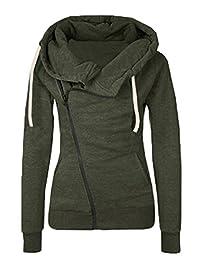 FANOVI Women's Turn Down Collar Long Sleeve Oblique Zipper Fleece Jacket Coat