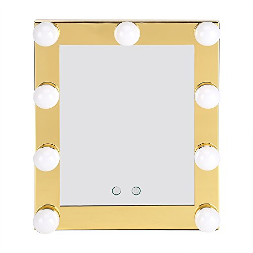 LED Bulb Makeup Mirror,9 LED Bulb Countertop Vanity Lighted Makeup Mirror Desktop Cosmetic Mirror Touch Screen Dimmable 110V-240V (Champagne Color) ()