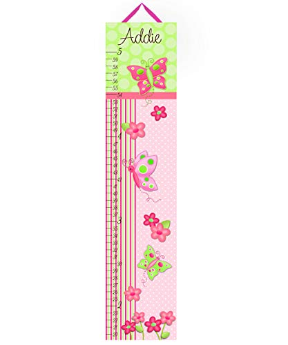 Toad and Lily Canvas GROWTH CHART Pretty Polka Dot Butterfly Girls Bedroom Baby Nursery Bedroom Wall Art GC0073