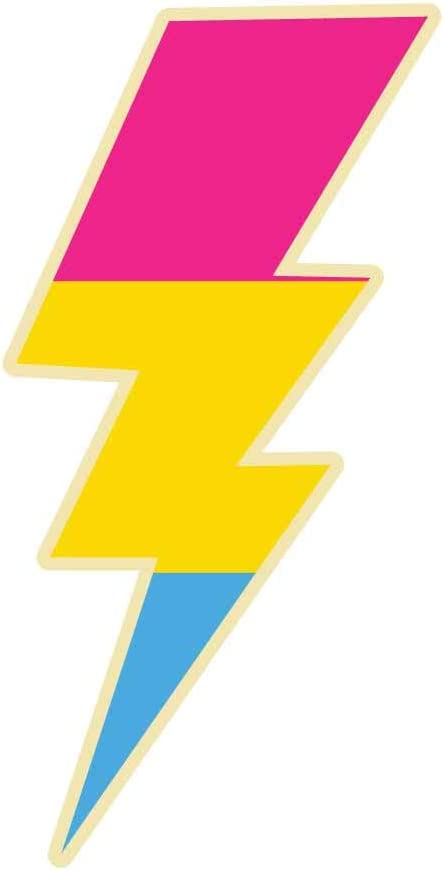 Dark Spark Decals Pansexual Lightning Bolt Pride - 4 Inch Full Color Vinyl Decal for Indoor or Outdoor use, Cars, Laptops, Décor, Windows, and More