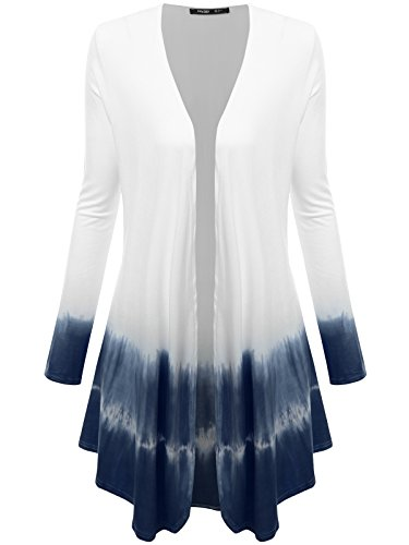 JayJay Women Summer Open Draped Front Long Sleeve Kimono Tie Dye Cardigan,WHITE/BLUE,2XL