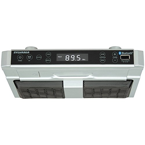 Sylvania SKCR2810BT Under Cabinet Clock Radio, Music System with Bluetooth Streaming and FM Radio
