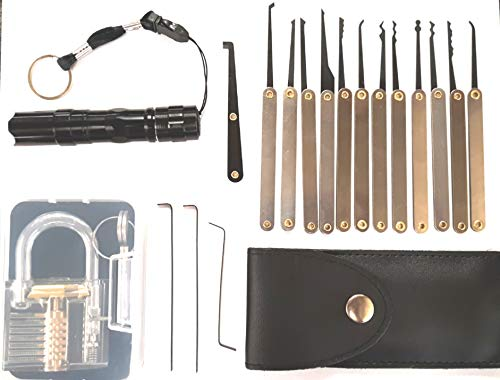 Professional Practice Tool Lock Set, Pick Set with Flashlight (Black)