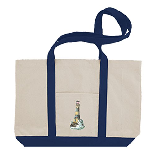 - Cotton Canvas Boat Tote Bag Lighthouse Vintage Look #3 By Style In Print | Royal Blue